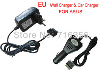 EU Plug AC WALL  Charger + CAR CHARGER Adapter for Asus Eee Pad Transformer TF300 TF300T TF700 TF700T TF201 TF101 SL101