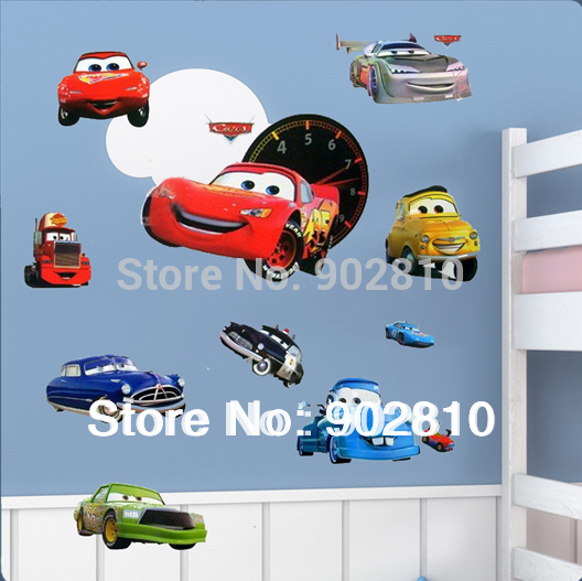 [listed in stock]-Free Shipping DIY Wallpaper Cartoon Cars To Kids Wall Sticker For Kid's Room (FC21TC1088)(China (Mainland))