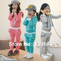 High quality,Spring / autumn New style baby girl hoody zipper coat+pants suits 2pcs Sports Set ,(5set/lot)