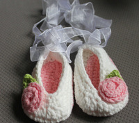 Baby crochet ballet shoes ribbon flower leaf first walker shoes 15pairs/lot mix design custom