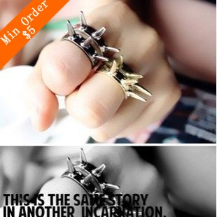 2015 New Fashion Hot Selling! The Retro Punk Rivet ring Cone, Finger Barbed Ring 66R582/66R583/66R584/66R585(China (Mainland))