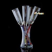 Colorful Beach Glasses Champagne Flutes Glasses Set Free Shiipping