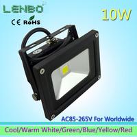 10pcs/Lot 110V 240V  LED Flood Light 10W Warm White Outdoor Lights black case High Power IP65 Green Blue Yellow Red LW1
