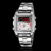 15pcs/lot free shipping NO1001 silver color Men's watch WEIDE brand  Digital analog dual time watch