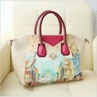 Hot 2014 Fashion PU Leather Handbag+ Shopping Bag +Big Bag +Cartoons Handbag Free Shipping