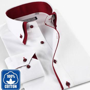 mens Spring 100 Хлопок Длинный Рукав Белый рубашка  Slim Fit Double Воротник Business Повседневный shirt XXL XXXL XXXXL XXXXXL