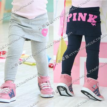 Бесплатная доставка, 2014 осень простой письмо одежда детская одежда, Глубокий и grep дети юбка брюки KKZ11A03