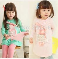 Free SHipping,2014 autumn plaid rabbit girls clothing baby long-sleeve dress  qz0400