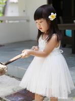 2013 Girl Rose Princess White Vest Veil Cute Dress Kids Tutu Dresses For 2-7 Yrs Girl High Quality 5PCS/LOT