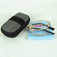The Good Quality Fold Up Reading Glasses Ship With Pu Case Metal Frame And Glass Power Lens Easy To Carry It Around