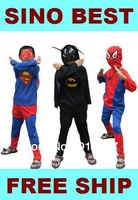 Free Shippping Discount Christmas Superman Spiderman Batman Costumes for Kids Children Boy Superhero Suits Clothes Party Gifts