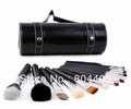 free shipping! high quality  professional 16pcs makeup brush set with PVC leather tube, black cosmetic brush set