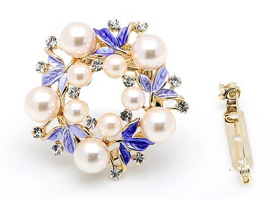 Dual Purpose Crystal Garment Brooch Rhinestone Pashimina Clip Scarf Clips Wedding Bridal Dress Pearl Brooch Pin(China (Mainland))