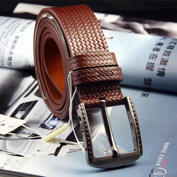 Promotion!! Real Leather Belts black/brown color option 3.2cm pin buckle men's leather belts retail(China (Mainland))