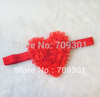 "3.5"" Shabby Heart Headbands Valentine's Headbands Hot Pink Flower Headbands 36Pcs Free Shipping"