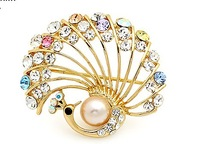Free Shipping!Min US15 Phoenix Pearl Brooch Pin Garment Accessories Bridal Wedding Cloth Colorful Rhinestone Peacock Brooch Pin