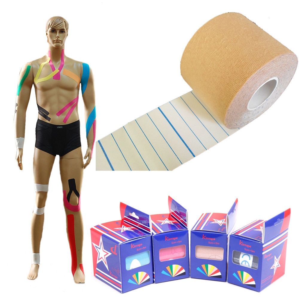 Muscle Kinesio Tape 5cm x 5m DL Brand(10rolls / lot) Hot sale free shipping+Usage manual+Kinesiology pure tape manufacturer(China (Mainland))