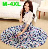 M-4XL New Plus Size Ladies Long Bohemia Chiffon Dress Brand Spring Summer Half Sleeve Floral Printed Elastic Waist Maxi Dresses