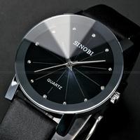 New Fashion SINOBI Crystal Elegant Women Quartz Watch Black PU Leather Dress Wristwatch
