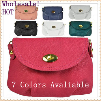7 Colors 2013 popular Mini crossbody Bags genuine PU leather Shoulder Messenger bags for women