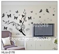 3pcs/lots 50x70cm modern wallpaper wall coverings cute butterfly flowers wall decal stickers KW- HL3d-2176