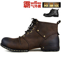 Top Quality 2014 New  Handmade 100% Genuine Leather Men's Boots Limited Edition Boots British Personality leather ankle boot