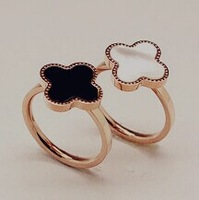 14k rose gold plated clover rings/white/black rings/size 5-size8