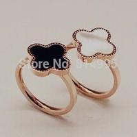 14k rose gold plated clover rings/white/black rings/size 5-size8