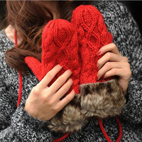 2014 new arrival Bilayer Fashion Women girl warm mittens cute winter thick quality Gloves gift colors