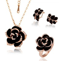 2014 new High quality 18K Gold Plated Crystal flower Jewelry Sets Austrian SWA Not allergic free shipping