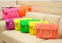 14 Fluorescent British Institute of wind retro briefcase men women handbags Satchel shoulder bag Mobile Messenger school bags