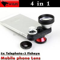 5x Super Teleconverter+Fisheye+Macro+Front Fisheye 4 in 1 lens camera for iPhone 5s 5,20 pcs/lot Professional mobile phone lens
