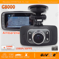 New G8000 GS8000 Car Camera DVR 170 Degree Lens Angle Ambarella A2S60 Full HD 1080P + 256/512MB + Optional GPS + Free Shipping