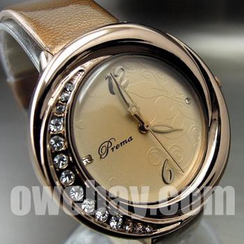 PM013 2013 Fashion New Wholesale Luxury Clock Quartz Hour Analog Dial Brown Leather Women's Wrist Watch