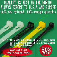 8x150mm releasable cable tie releasible plastic nylon cable tie,cable wire zip ties binding nylon66 CE ROHS
