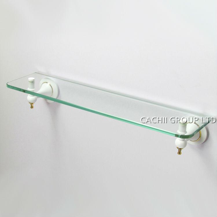 glass shelf wall shelf bathroom shelves with solid brass plate