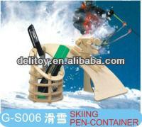 DIY Wood Natural Puzzle educational skiing pen-stationary.(China (Mainland))