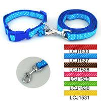 Wholesale Free shipping (6 colors) 12pcs/lot Classic Pet Dog Dots Print Collar Leash Lead Set 1.5cm
