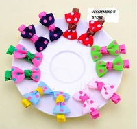 (MIN ORDER $15)2013 candy color dot  children hair clip J002