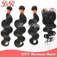 4pcs/Lot,Peruvian Virgin Hair Extension,1pc Lace Closure Free Part With 3pc Hair Bundles Peruvian Body Wave Human Hair Weave