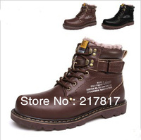 Free Shipping 100% genuine leather Casual male cotton-padded shoes the trend of men's shoes Martin shoes winter business boots