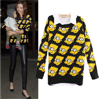 women  Carton young bart man  simpson pullover knitted sweater sweat retro fashion Simpsons loose  jeremy Scott GD