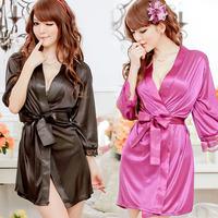 New Women's Ladies Open Front Sexy Lingerie Set Robe Pajamas Nightgown Sleepwear Nightwear Thong Underwear Free Shipping 4010