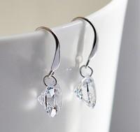 2014 Trendy Silver 925 Drop Earrings Round Sparkling Element Cubic Zirconia 8/9/10mm Dangle Earring for Women/Girl Ulove Y047