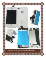 Freeshipping White lcd Screen +touch screen Digitizer+back cover glass assembly+opening tool, Replacement Part for iphone 4s
