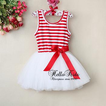 2015 Children Dress Girl Strip TuTu Dress Baby Stripe With Bow Kid Summer Lace Hallowee Dress Wholesale GD30110-08^^HK