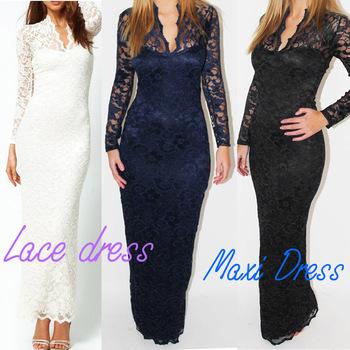 Fashion Ladies'  V-Neck Maxi Dress Scallop Neck Lace Women Long Sleeve Dress White Black Dark Blue
