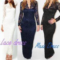 Fashion Ladies'  V-Neck Maxi Dress Scallop Neck Lace Women Long Sleeve Wedding Evening Dress White Black Blue