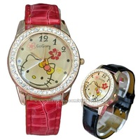 Hello Kitty Rhinestone Watch For Women Fashion Watches Leather Belt Quartz Clock Ladies Casual Luxury Brand Dress Wristwatches