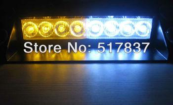 DC12V New Emergency 8 LEDs Windshield Strobe Lightbar Amber White